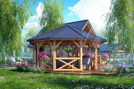 Drewniana altana ogrodowa Ośmiokątna 500 cm